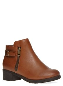 Evans Extra Wide Fit Tan Side Zip Ankle Boot