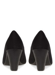Extra Wide Fit Black Suedette Block Heel Court