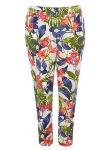 Plus Size Multicoloured Tropical Tapered Trouser