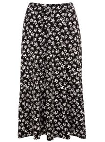 Plus Size Daisy Print Fit and Flare Skirt