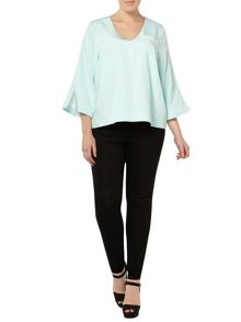 Evans Plus Size Jamie Wei Blue V-neck Top