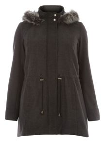 Grey Fur Trim Parka Coat