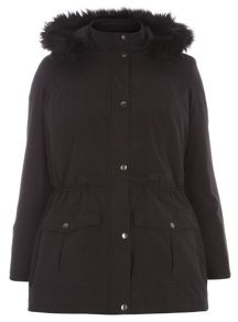 Evans Black Sheen Parka Coat