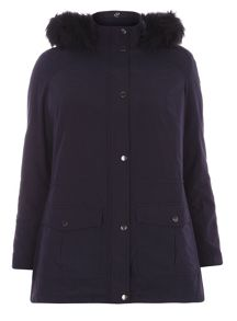 Evans Navy Blue Sheen Parka Coat