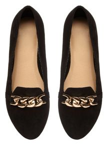 Evans Extra Wide Fit Suedette Chain Slipper