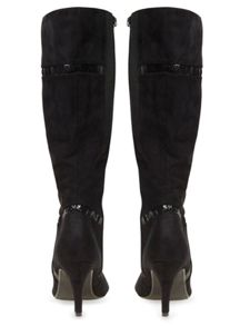 Evans Extra wide Black Material Mix Long Boot