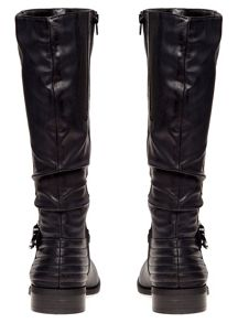 Extra Wide Fit Ribbed Buckle Long Boot