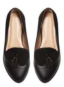 Evans Extra wide Black Material Mix Loafer