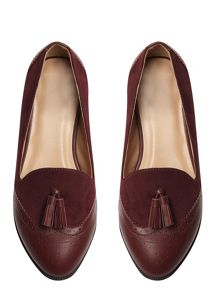 Extra wide Berry Material Mix Loafer