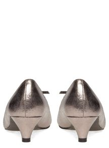 Extra Wide Fit Silver Shimmer Bow Kitten Heel