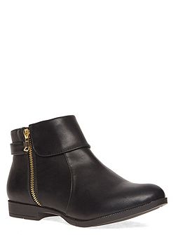 Extra Wide Fit Foldover Zip Ankle Boot