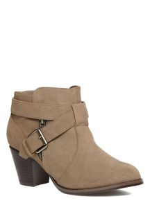 Extra Wide Fit Buckle Zip Ankle Boots