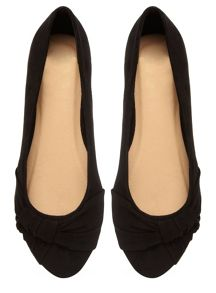 Extra Wide Fit Suedette Pleated Pump