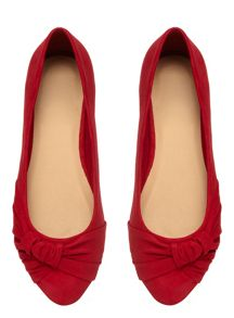 Extra Wide Fit Red Suedette Pleated Pump