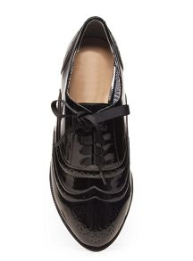 Evans Black Ribbon Lace Up Brogue
