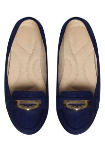 Evans Extra Wide Fit Suedette Trim Moccasin