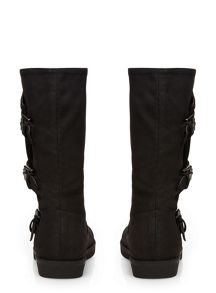 Evans Extra Wide Fit Triple Buckle Calf Boots