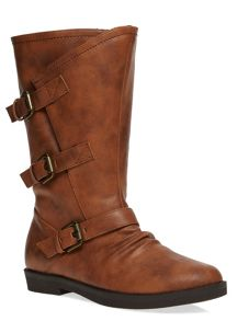 Extra Wide Fit Triple Buckle Calf Boots