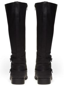 Extra Wide Fit Black Suedette Chain Boot