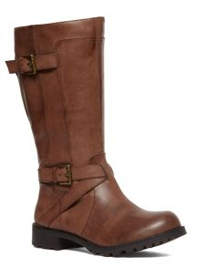 Evans Extra Wide Double Strap Biker Boot