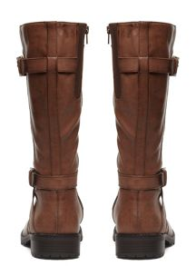 Extra Wide Double Strap Biker Boot