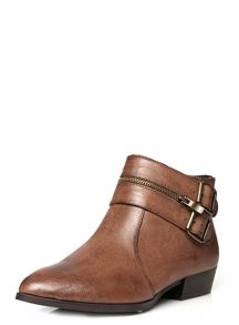 Extra wide fit brown buckle ankle boot