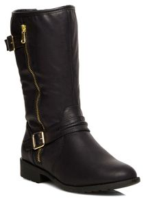 Extra Wide Fit Zip Biker Boots