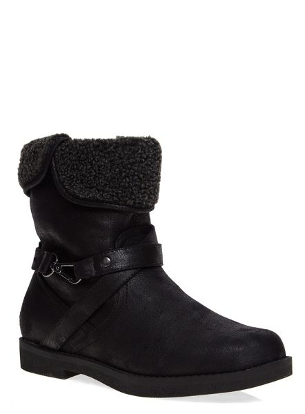 Evans Extra Wide Fit Shearling Trim Boots