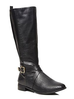 Black Lizard Print Long Boots
