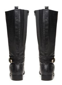 Evans Black Lizard Print Long Boots