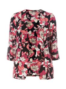 Plus Size Pink and Black Floral Jacket