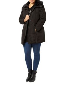 Black Fur Collar Padded Coat