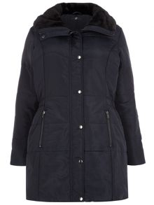 Navy Fur Padded Coat