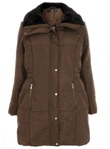 Brown Fur Collar Padded Coat