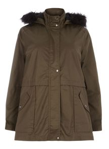 Plus Size Khaki Jersey Hooded Wax Coat