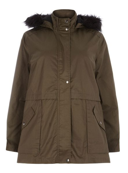 Evans Plus Size Khaki Jersey Hooded Wax Coat