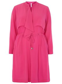 Plus Size Pink Chiffon Trench Jacket