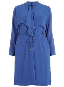 Plus Size Blue Chiffon Trench Jacket