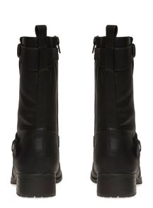 Extra Wide Fit Black Stud Biker Boot