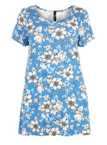 Plus Size Blue Floral Swing Tunic