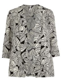 Plus Size Leaf Print Crepe Jacket