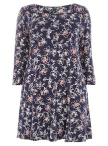 Navy Floral Swing Tunic