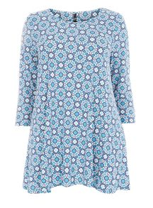 Blue Tile Print Swing Tunic