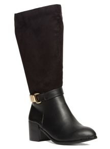 Extra Wide Fit Material Mix Long Boot