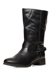 Extra Wide Fit Black Buckle Biker Boots