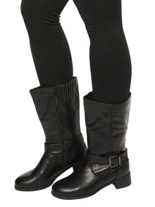 Evans Extra Wide Fit Black Buckle Biker Boots