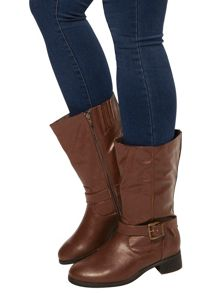 Extra Wide Fit Brown Biker Boots