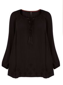 Plus Size Black Embroidered Hem Gypsy Top