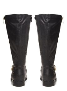 Evans Black Gold Zip And Chain Riding Boots