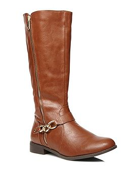 Tan Gold Zip And Chain Riding Boots